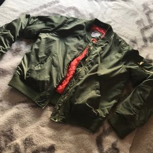 New mossimo supply  flight bomber jacket L green